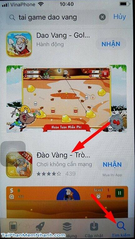 tìm game đào vàng trên app store