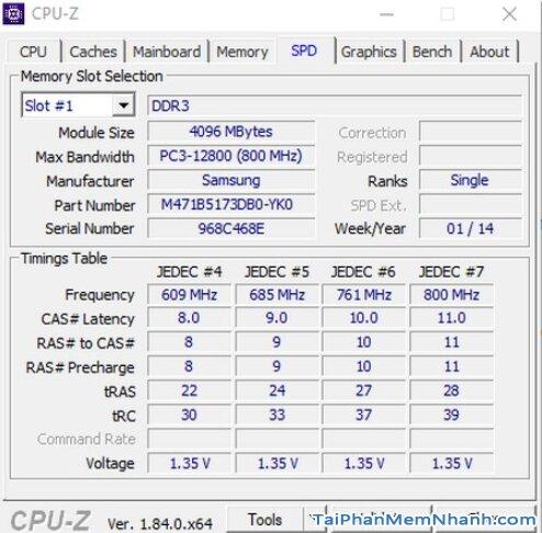 Hướng dẫn kiểm tra cấu hình máy tính, PC & Laptop với phần mềm CPU-Z + Hình 12