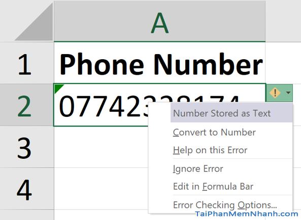 3 Cách nhập dãy số bắt đầu bằng chữ số 0 trên Microsoft Excel + Hình 4