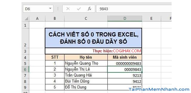 3 Cách nhập dãy số bắt đầu bằng chữ số 0 trên Microsoft Excel + Hình 8