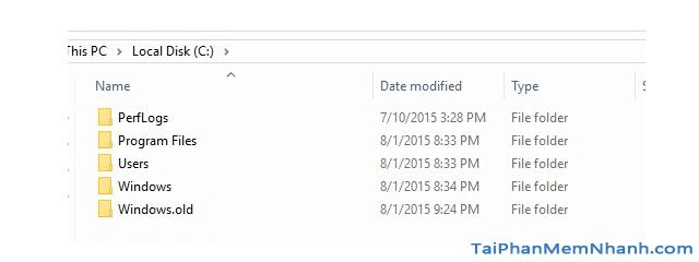 Hướng dẫn xóa thực mục Windows.old Windows 7, 8, 8.1, 10 + Hình 2