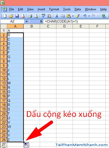 Hướng dẫn tự động điền ký tự từ A – Z trên Excel thông qua công thức + Hình 6