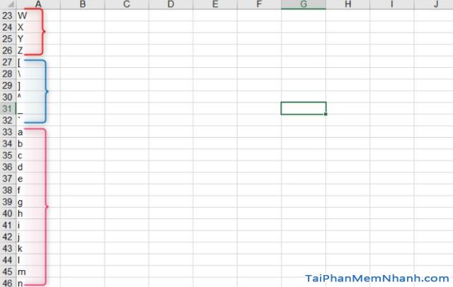 Hướng dẫn tự động điền ký tự từ A – Z trên Excel thông qua công thức + Hình 7