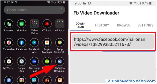 mở ứng dụng fb video downloader