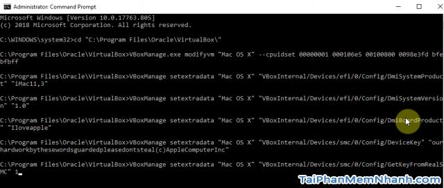 thêm lệnh vào virtual box