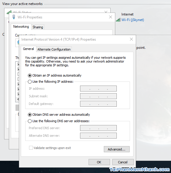 cửa sổ đặt IP tĩnh cho Windows