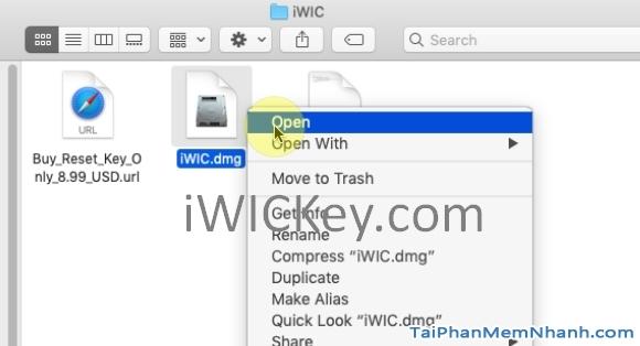 mở file iwic.dmg để cài iwic cho mac os
