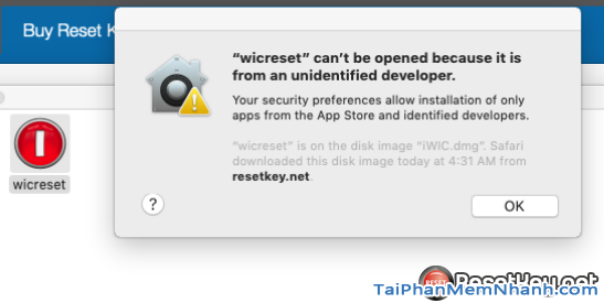 sửa lỗi wicreset can't be opened because it is from an unidentified developer