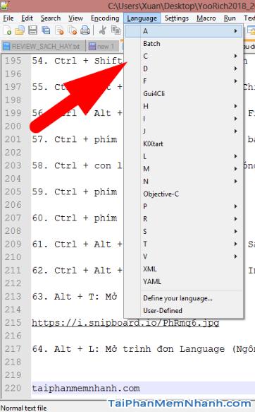 Notepad++ : Những tổ hợp phím tắt hữu ích bạn cần biết + Hình 20