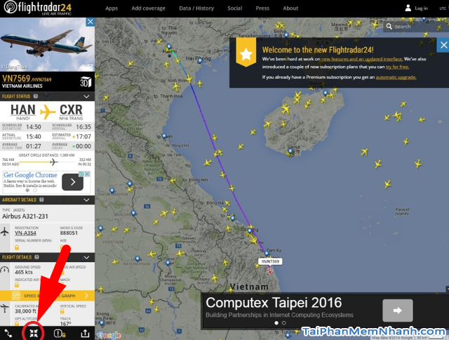 Cách theo dõi chuyến bay của người thân trên Flightradar24 + Hình 11