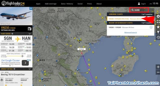 Cách theo dõi chuyến bay của người thân trên Flightradar24 + Hình 12