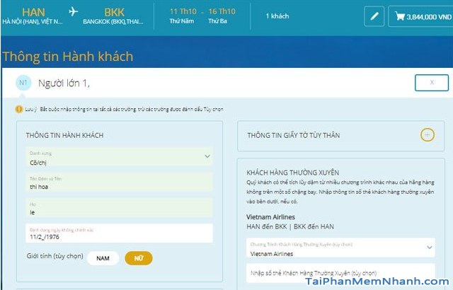 Hướng dẫn đặt vé máy bay online trên trang web Vietnam Airlines + Hình 13