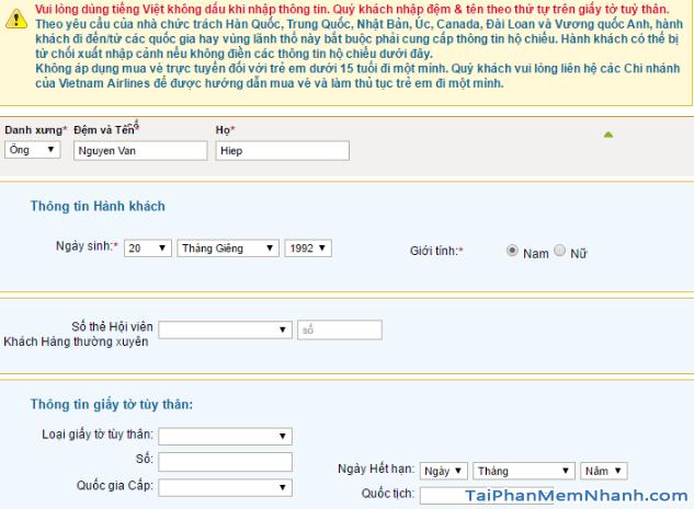 Hướng dẫn đặt vé máy bay online trên trang web Vietnam Airlines + Hình 14