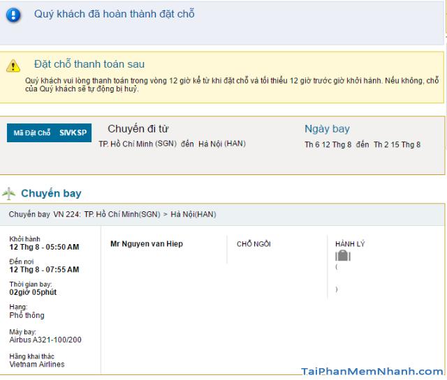 Hướng dẫn đặt vé máy bay online trên trang web Vietnam Airlines + Hình 19
