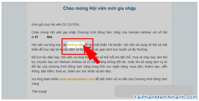 Đăng ký tài khoản Bông Sen Vàng trên web Vietnam Airlines + Hình 13