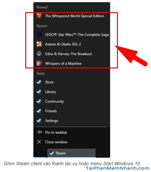 Cách ghim game Steam trên máy tính Windows 10 + Hình 5