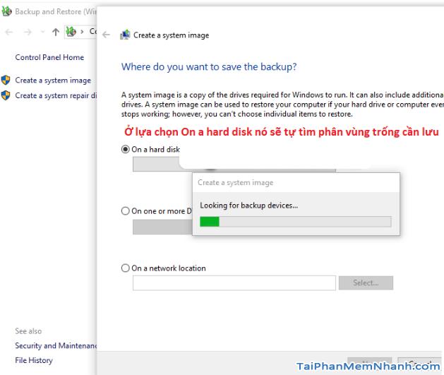 Dùng System Image để Sao lưu & Phục hồi Windows 10 + Hình 12