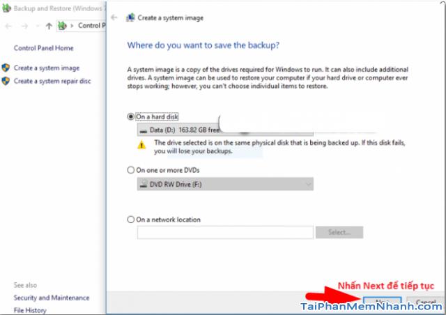 Dùng System Image để Sao lưu & Phục hồi Windows 10 + Hình 13