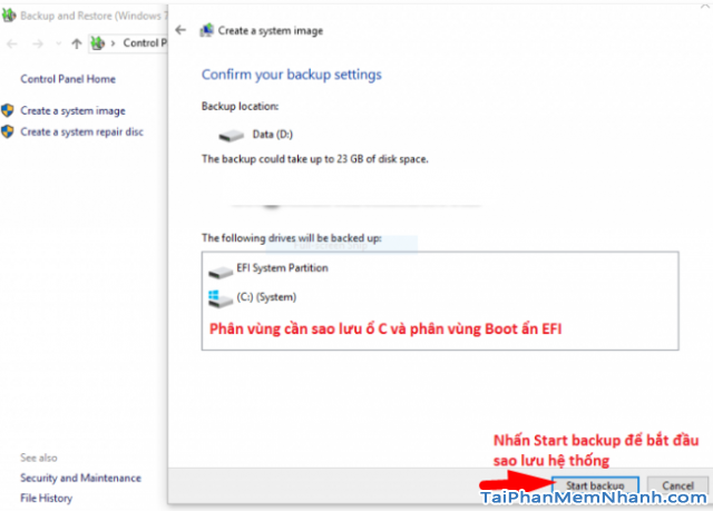 Dùng System Image để Sao lưu & Phục hồi Windows 10 + Hình 14