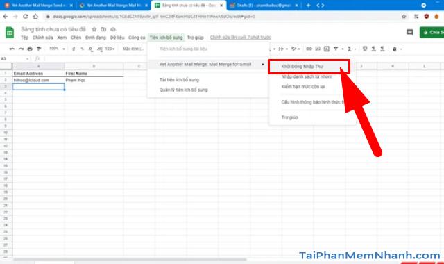 Mẹo gửi Email hàng loạt trong Gmail từ Google Sheets + Hình 11